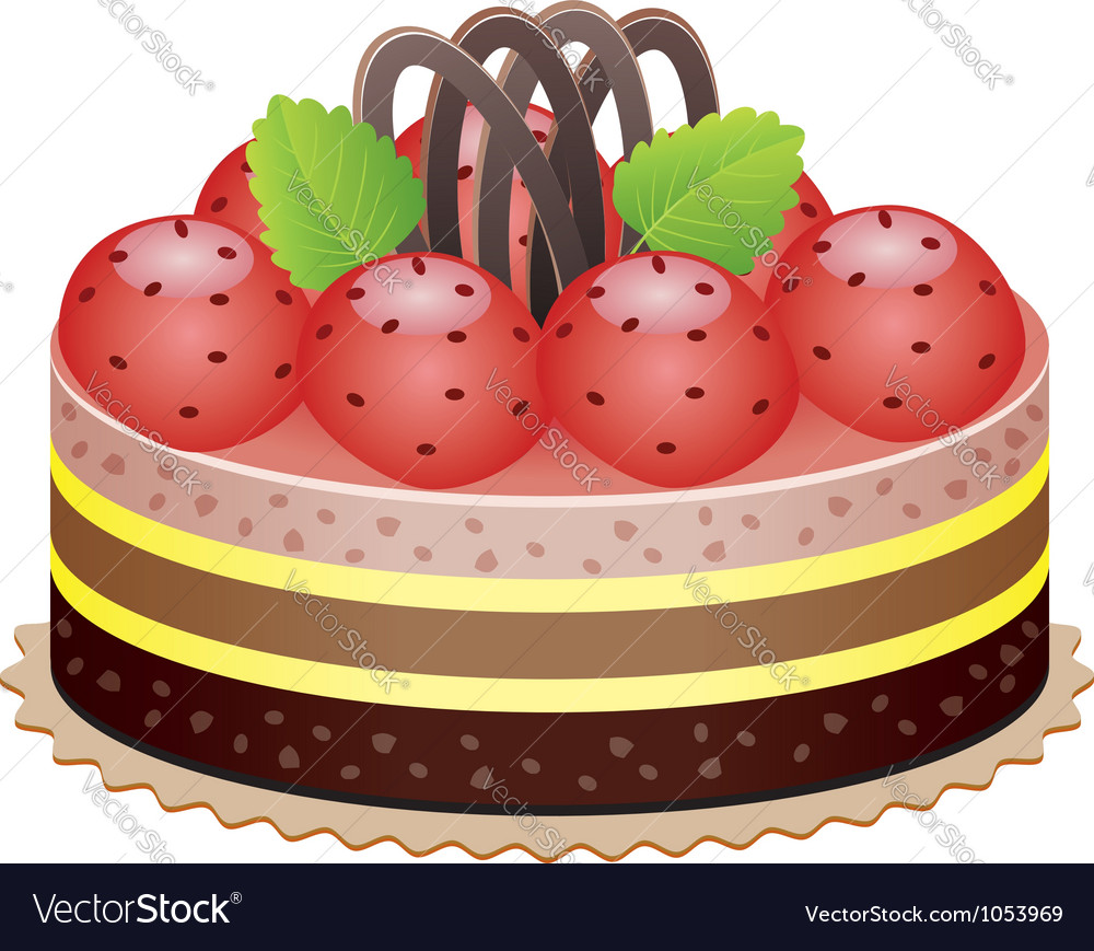 Cake with strawberry vector | Price: 1 Credit (USD $1)