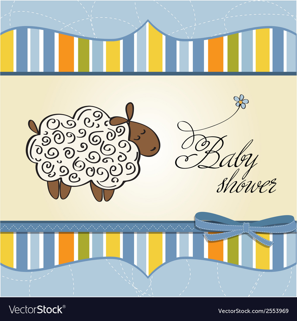 Cute baby shower card with sheep vector | Price: 1 Credit (USD $1)