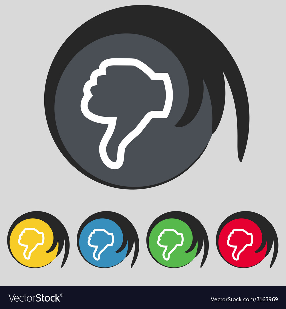 Dislike sign icon thumb down hand finger down vector | Price: 1 Credit (USD $1)