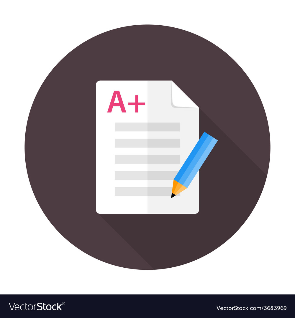 Exam preparation flat circle icon vector | Price: 1 Credit (USD $1)