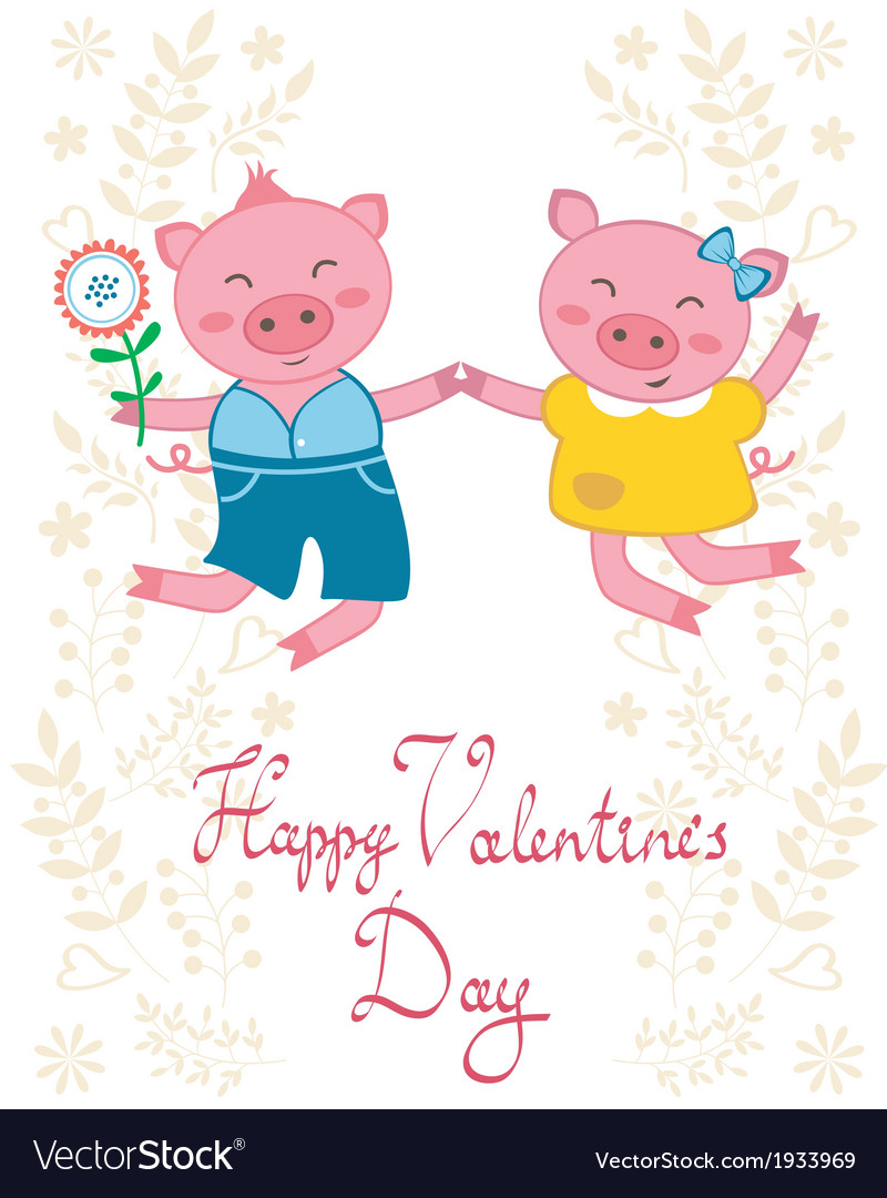 Happy jumping pigs couple vector | Price: 1 Credit (USD $1)
