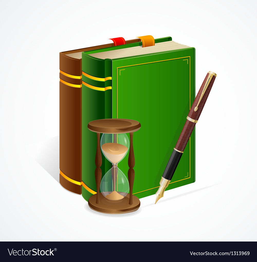 Old book and sand glass pen vector | Price: 3 Credit (USD $3)