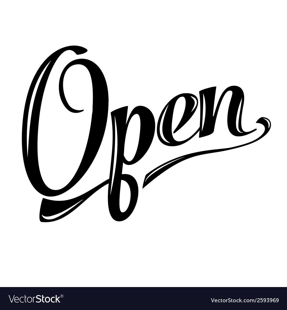Retro open sign on white vector | Price: 1 Credit (USD $1)