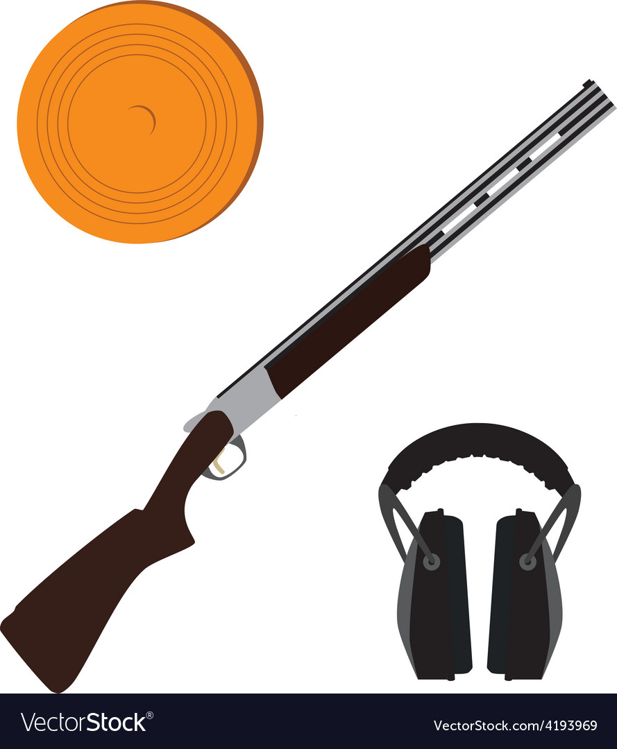 Skeet rifle headphones for shooting and clay disk vector | Price: 1 Credit (USD $1)