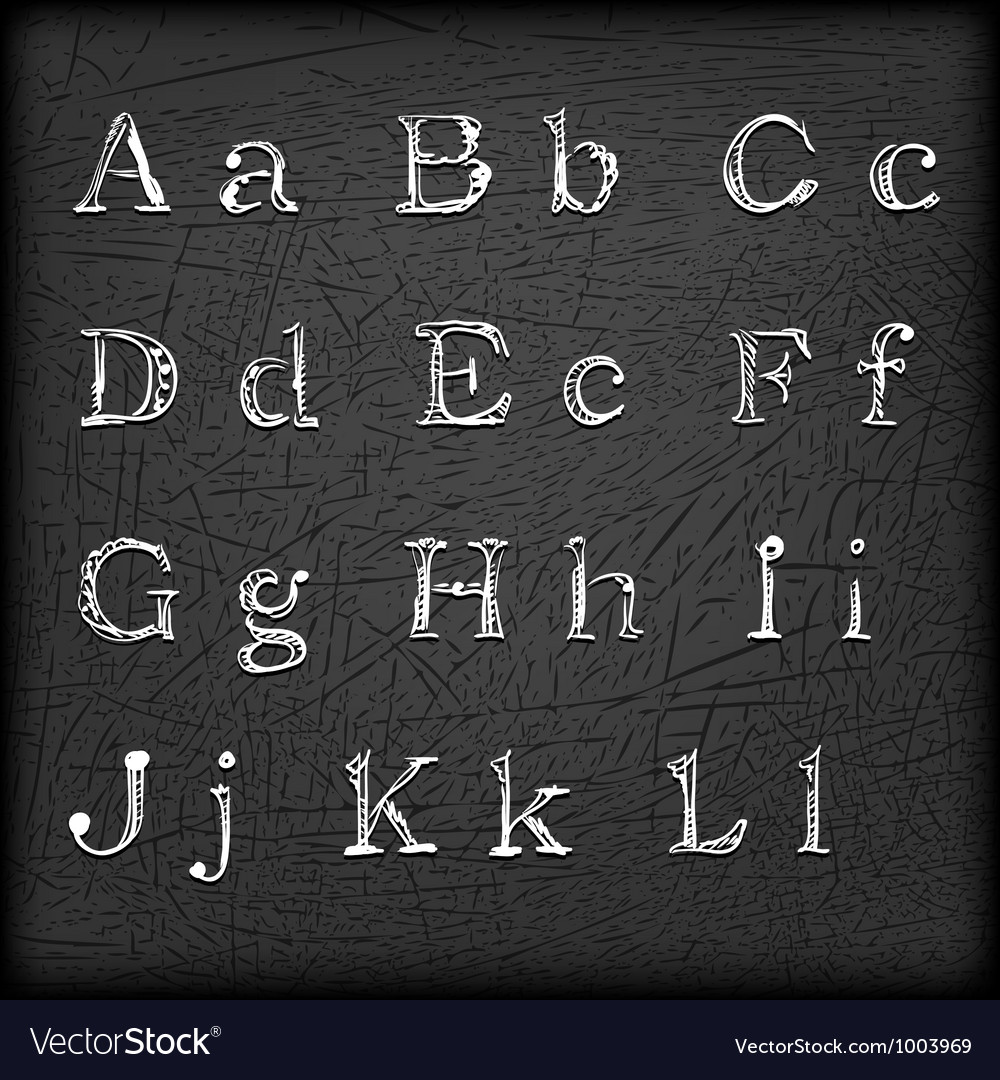 Sketched hand drawn alphabet a-l vector | Price: 1 Credit (USD $1)