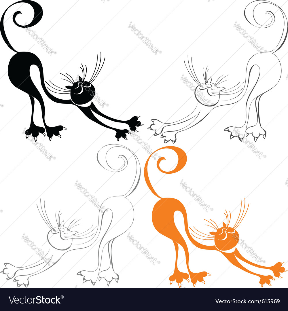Stylized cat stretches vector | Price: 1 Credit (USD $1)