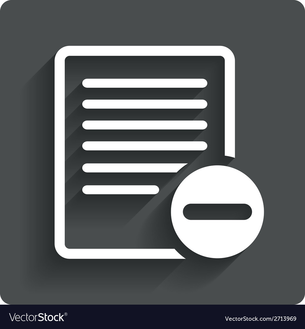 Text file sign icon delete file document symbol vector | Price: 1 Credit (USD $1)