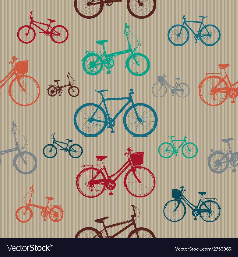 Vintage bicycles seamless pattern vector | Price: 1 Credit (USD $1)
