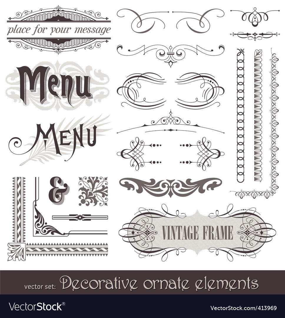 Vintage filigree elements vector | Price: 1 Credit (USD $1)