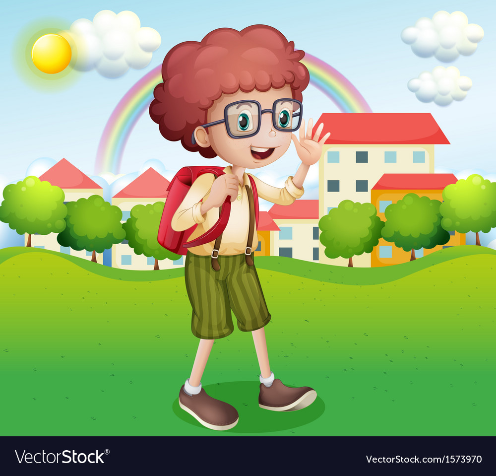 A boy going home from school vector | Price: 3 Credit (USD $3)