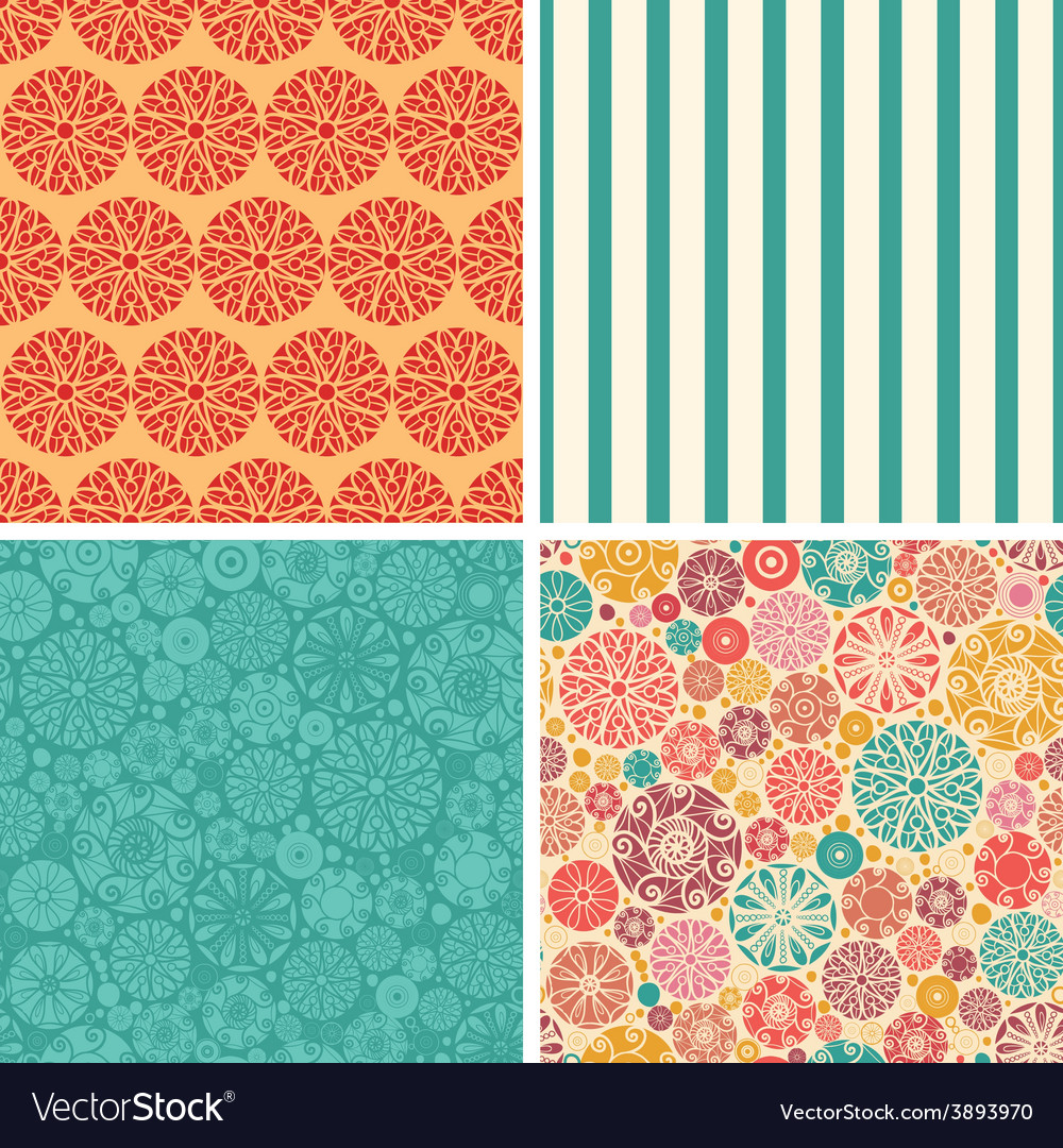 Abstract decorative circles set of four vector | Price: 1 Credit (USD $1)