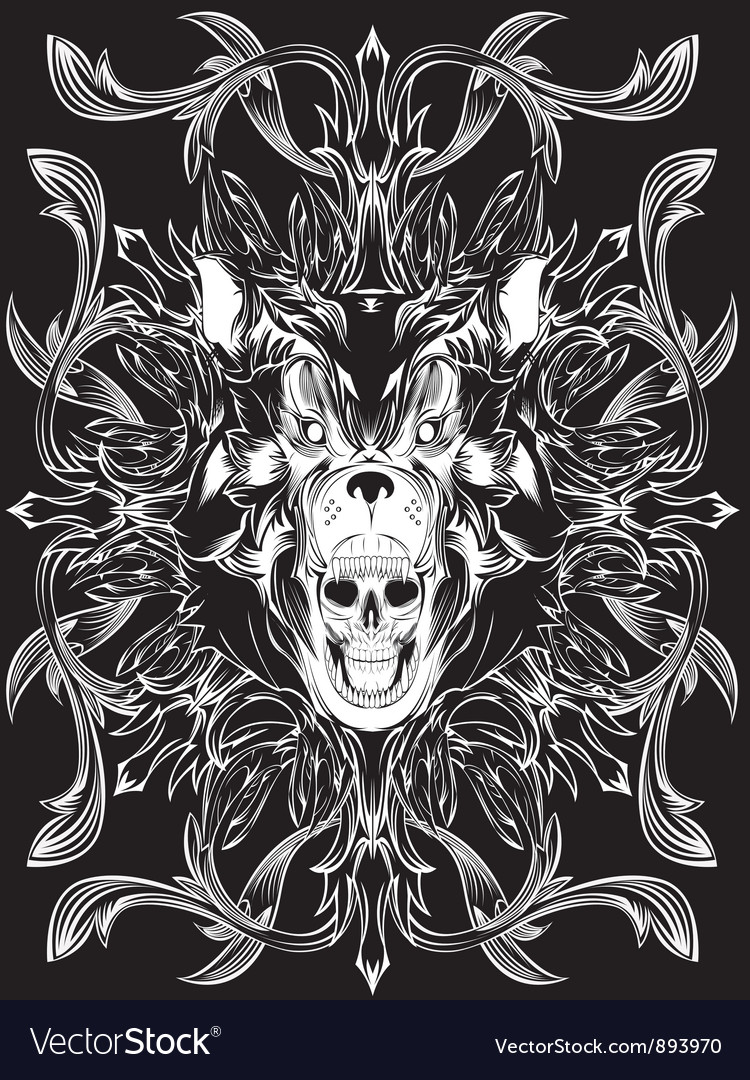 Bear skull pattern vector | Price: 1 Credit (USD $1)