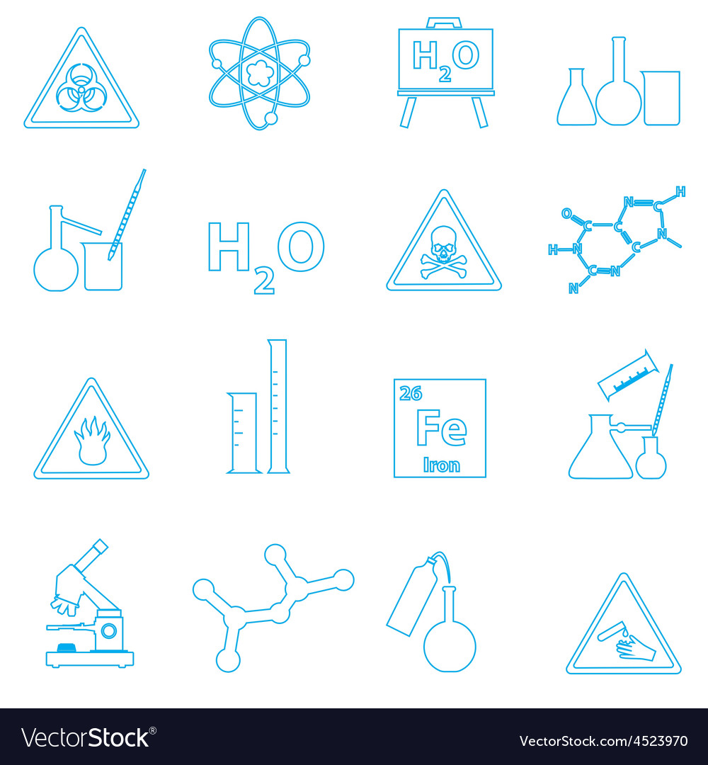 Chemistry simple outline icons set eps10 vector | Price: 1 Credit (USD $1)