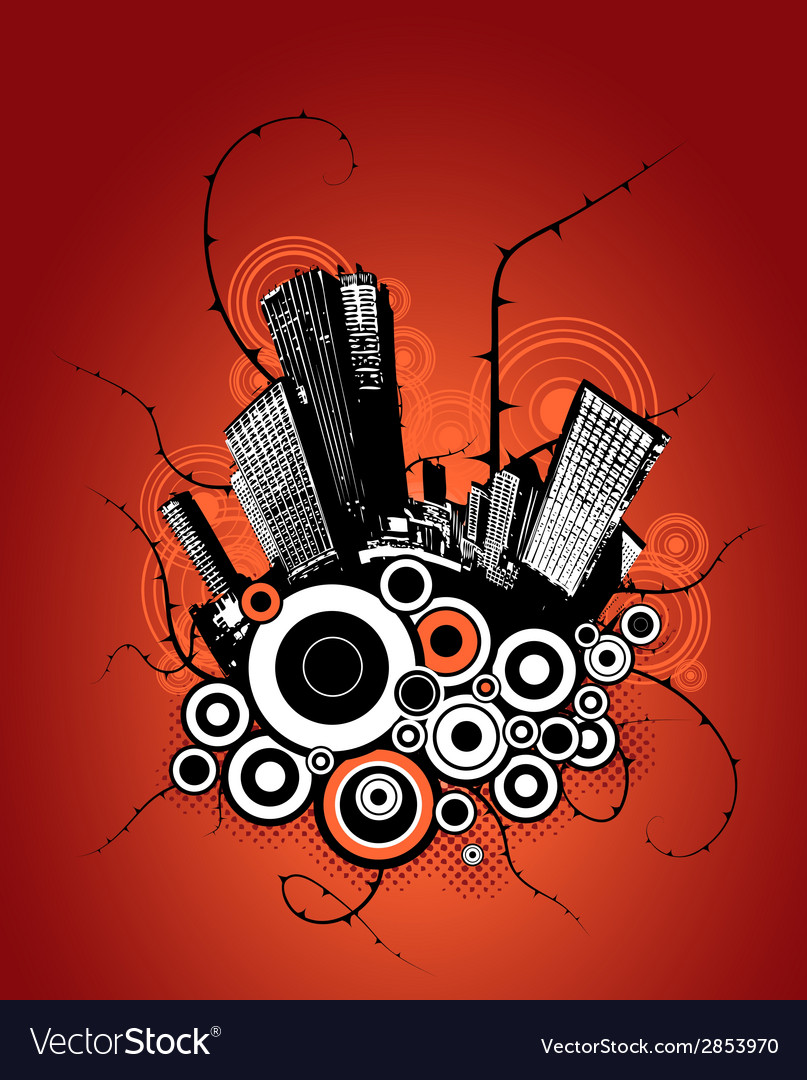 City with circles in the background vector | Price: 1 Credit (USD $1)