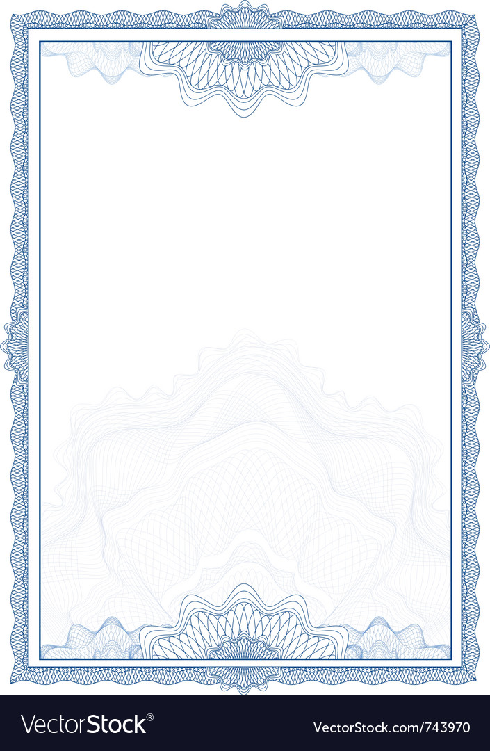 Classic guilloche border for diploma or certificat vector | Price: 1 Credit (USD $1)