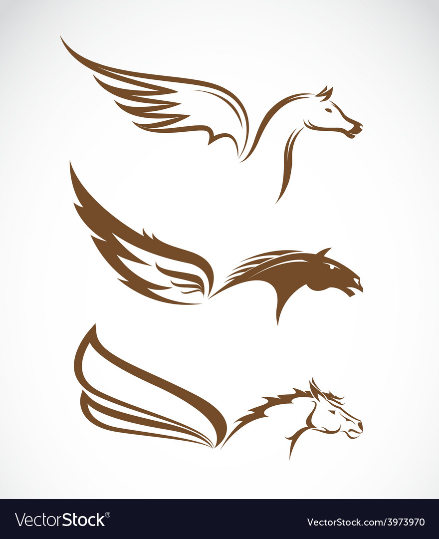 Image of an pegasus winged horses vector | Price: 1 Credit (USD $1)