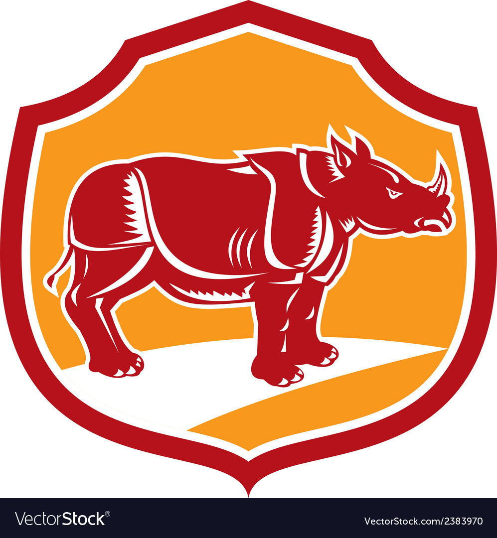 Rhinoceros standing shield retro vector | Price: 1 Credit (USD $1)