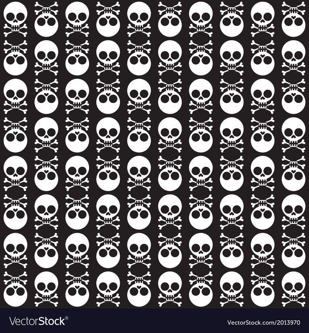 Seamless pattern with skulls and bones black vector | Price: 1 Credit (USD $1)
