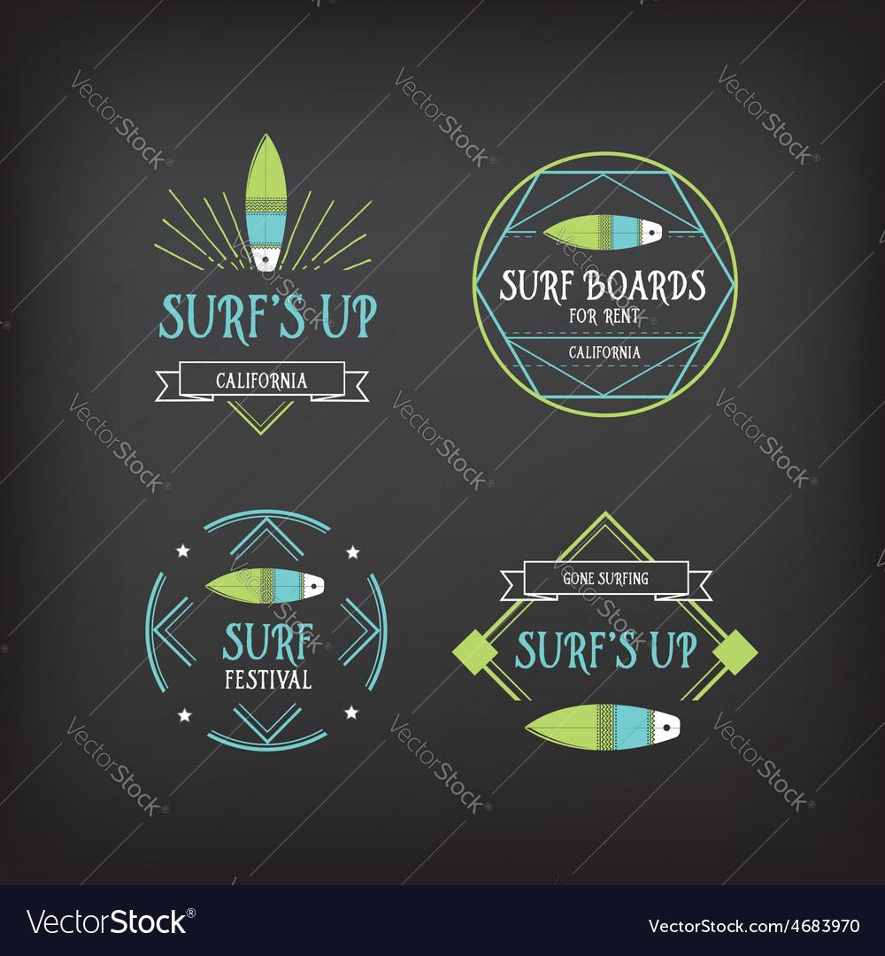 Surf vintage elements retro logo board hawaii vector | Price: 1 Credit (USD $1)