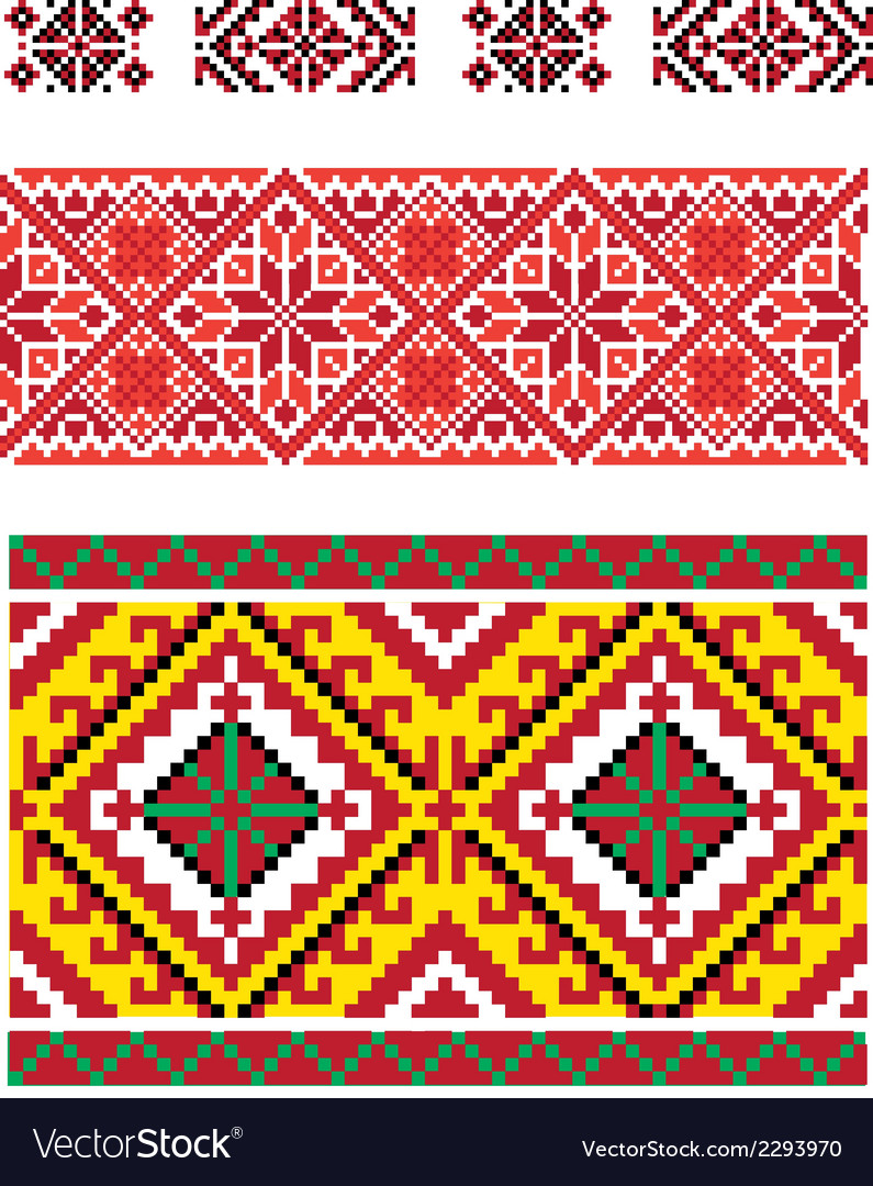 Three seamless folk borders vector | Price: 1 Credit (USD $1)