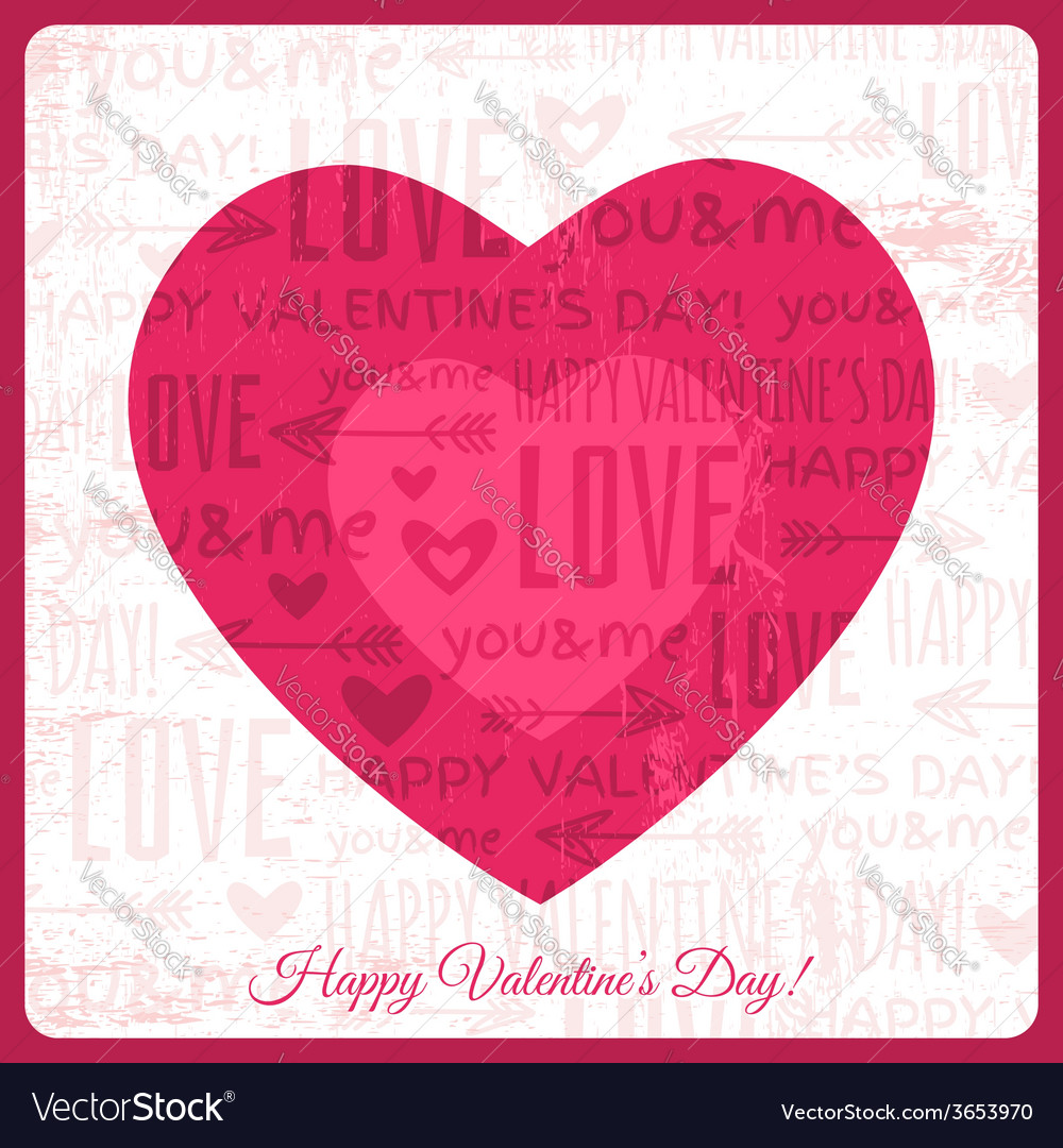 Valentines day greeting card with red heart vector | Price: 1 Credit (USD $1)