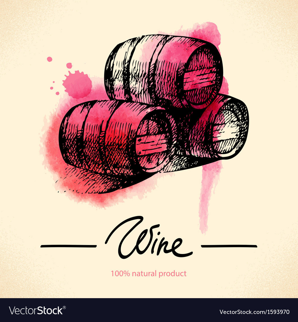 Watercolor hand drawn wine vintage background vector | Price: 1 Credit (USD $1)