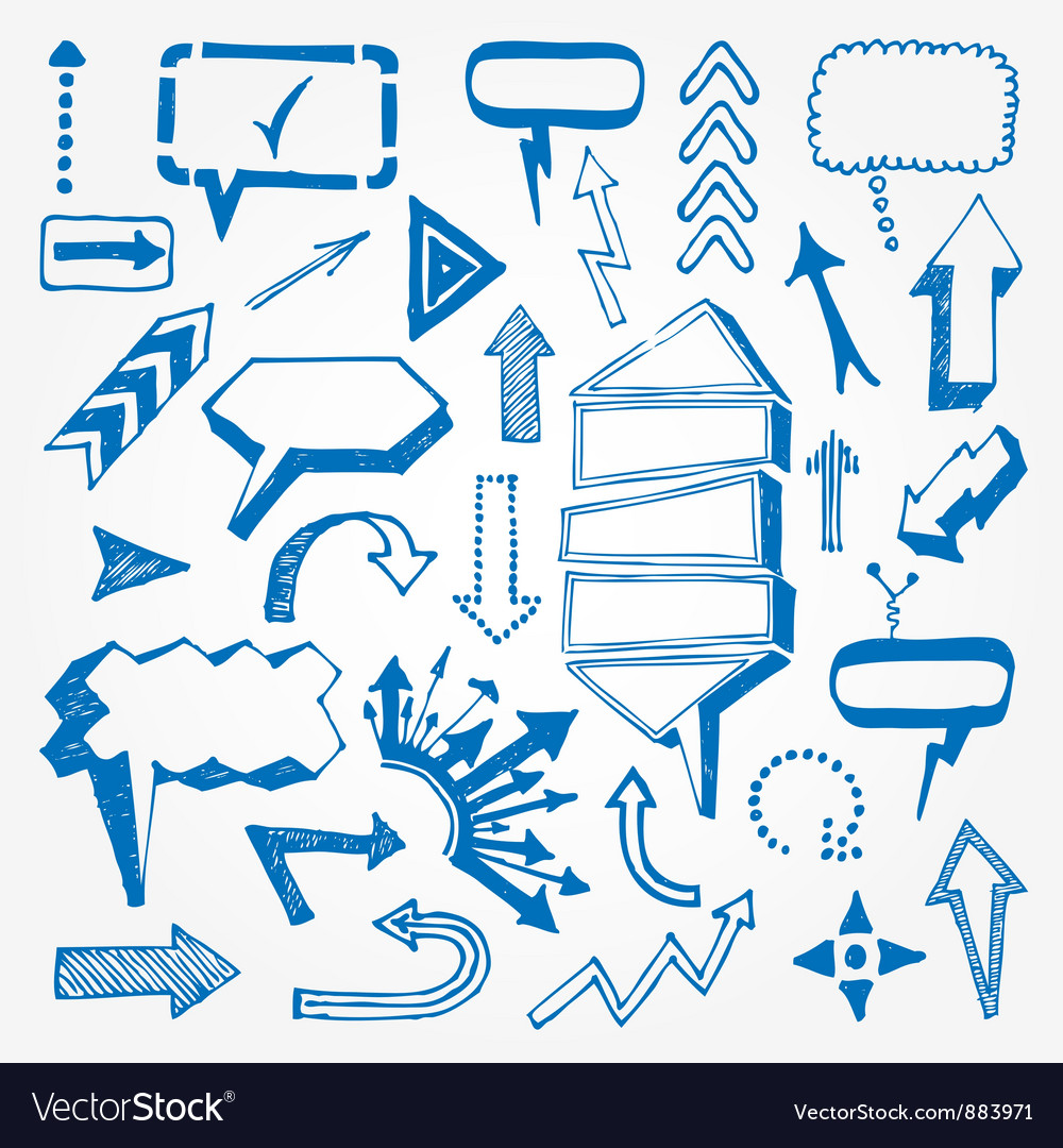 Arrows and speech bubbles set vector | Price: 1 Credit (USD $1)
