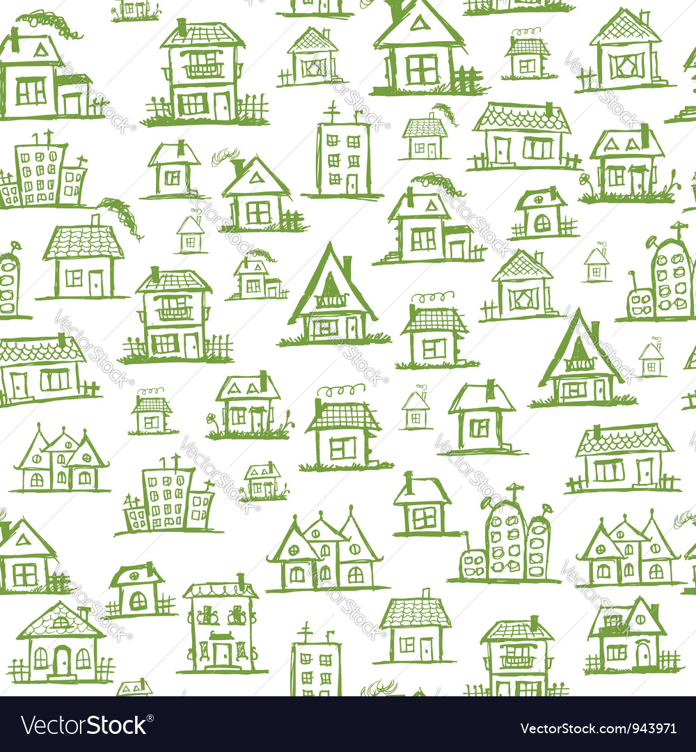 Art houses seamless background for your design vector | Price: 1 Credit (USD $1)