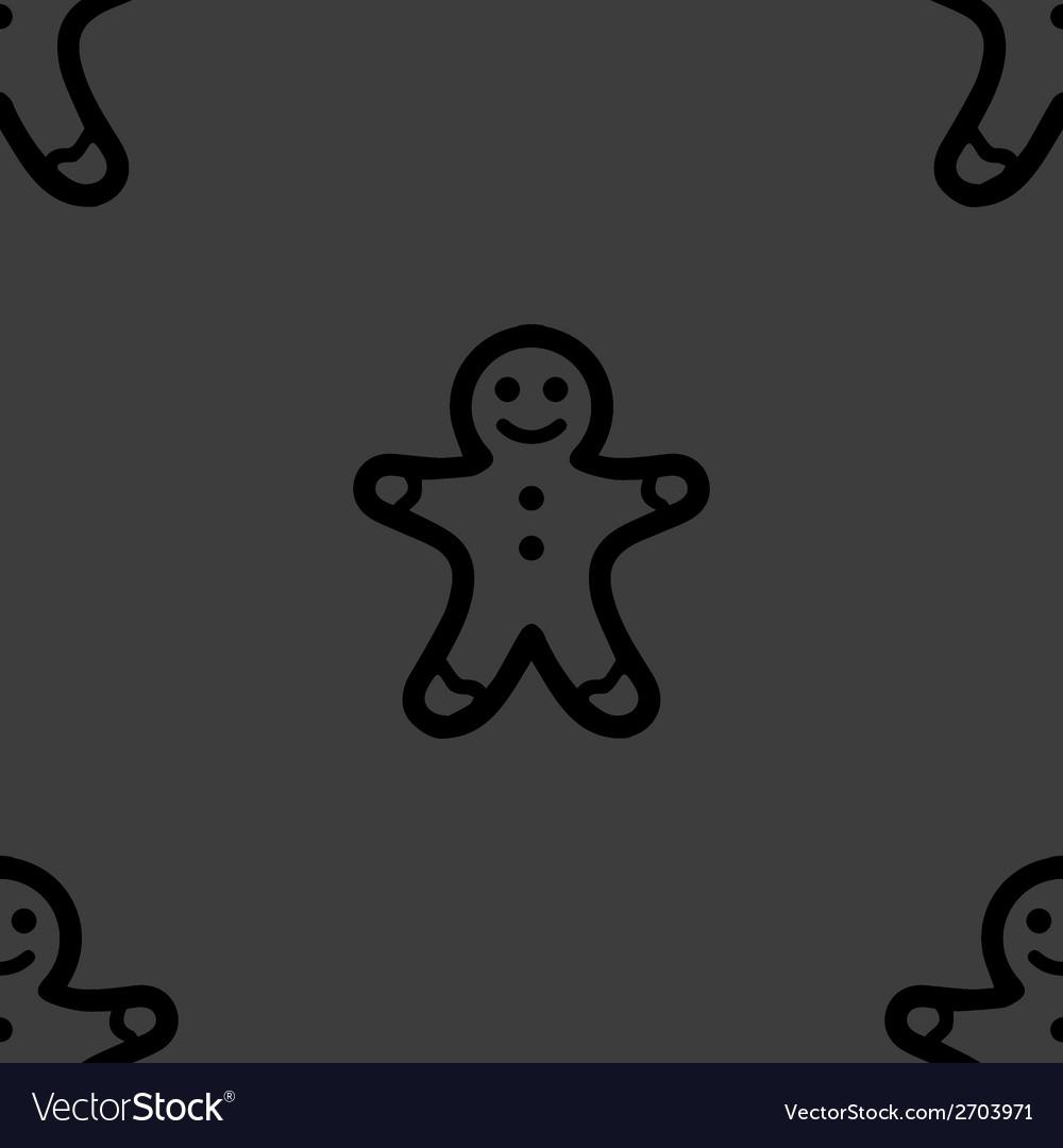 Gingerbread web icon flat design seamless gray vector | Price: 1 Credit (USD $1)