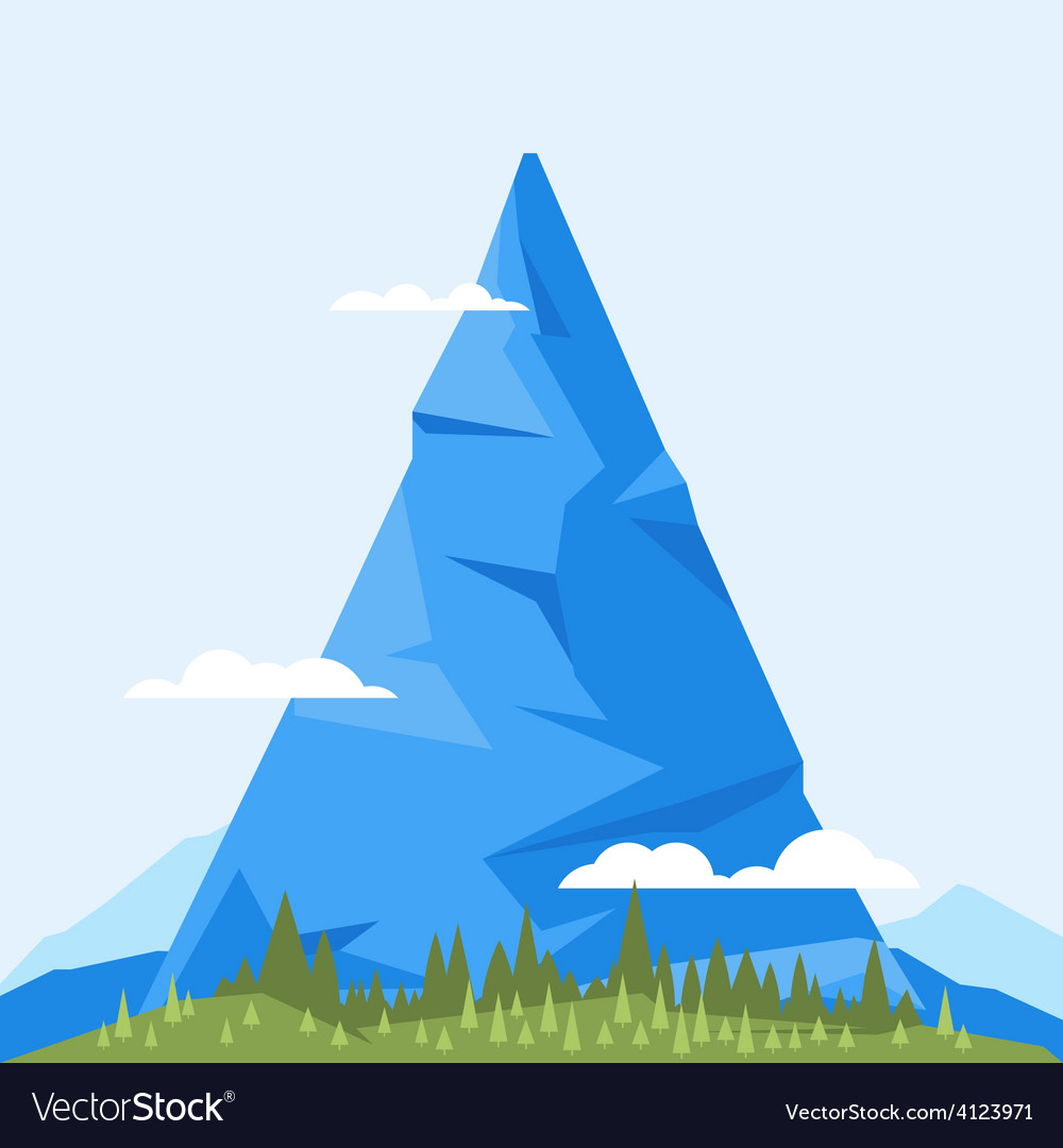 High mountain flat vector | Price: 3 Credit (USD $3)
