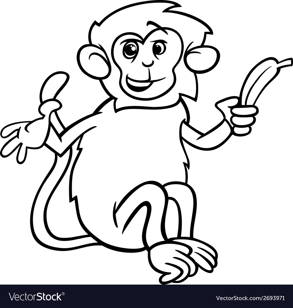 Monkey with banana coloring page vector | Price: 1 Credit (USD $1)