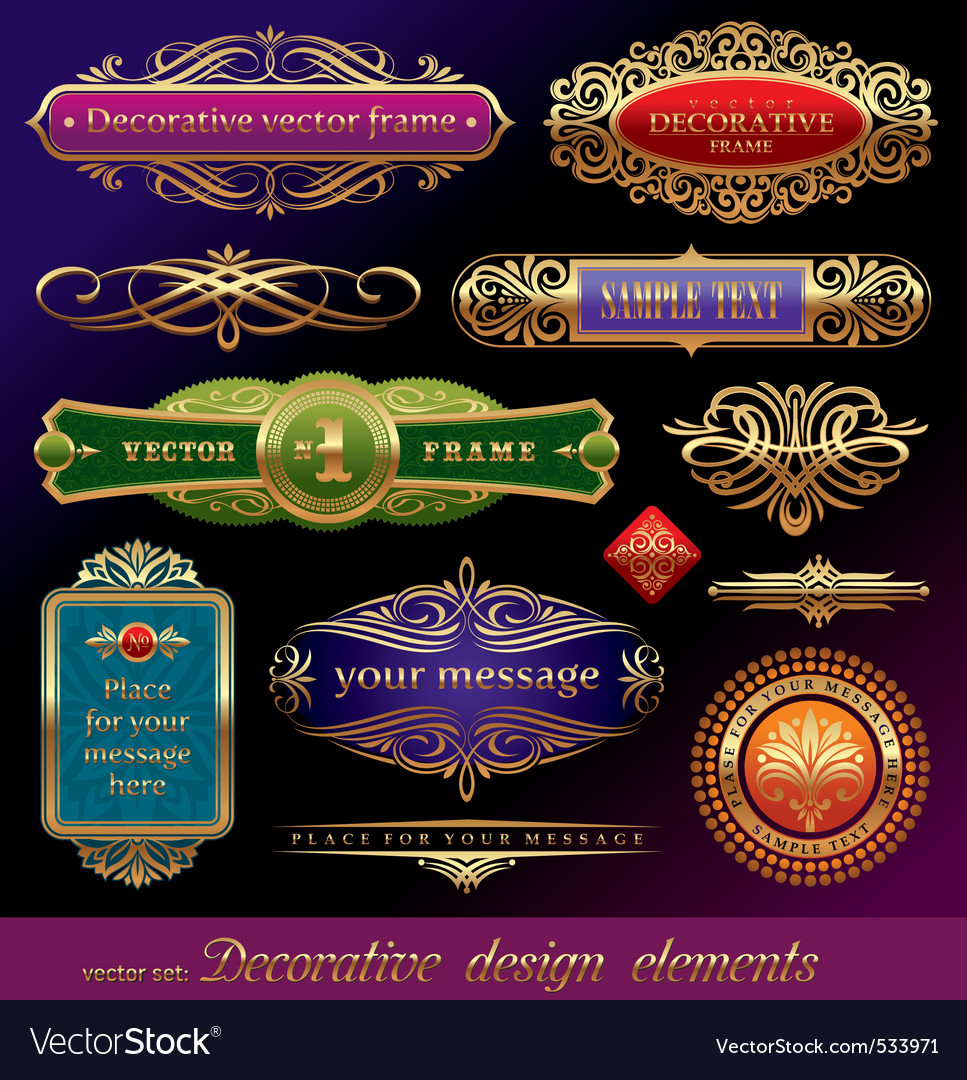 Set of golden framed labels vector | Price: 3 Credit (USD $3)