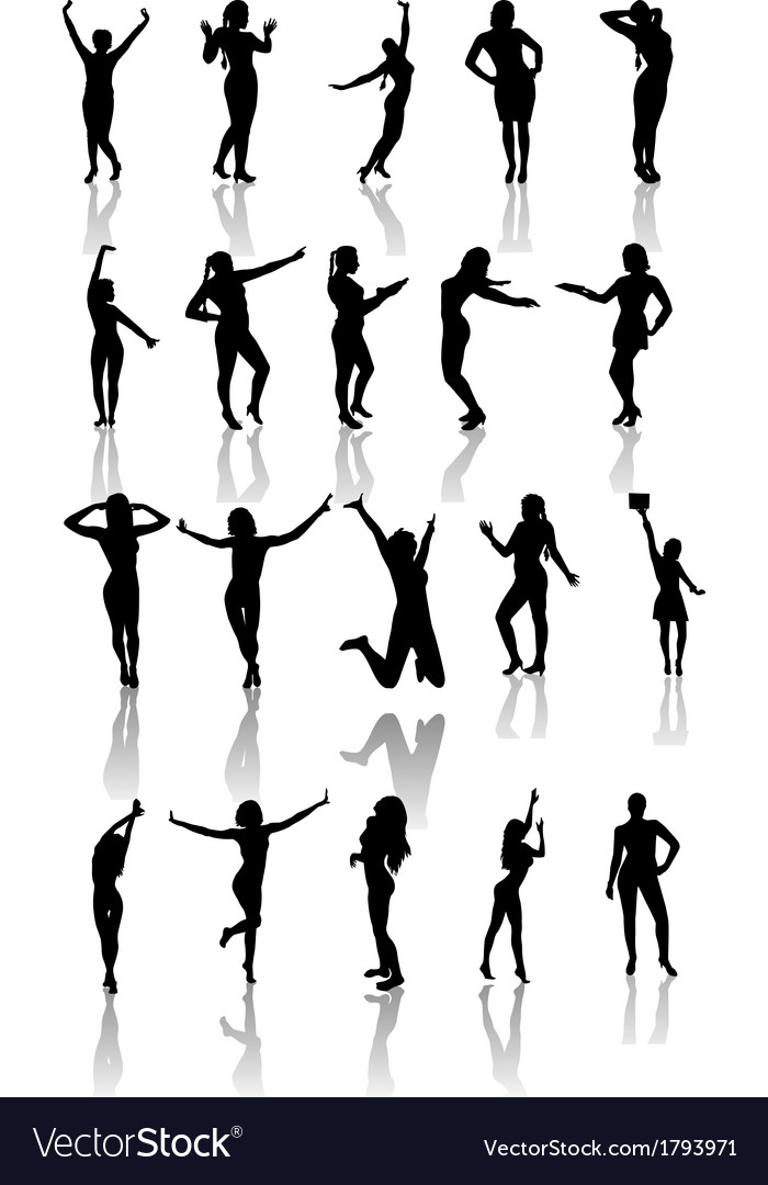Set of silhouettes of dancing and jumping girls vector | Price: 1 Credit (USD $1)