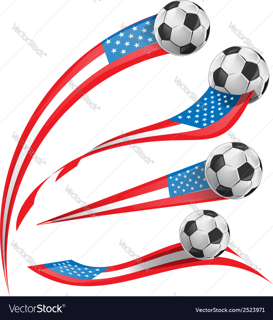 Usa flag set whit soccer ball vector | Price: 1 Credit (USD $1)