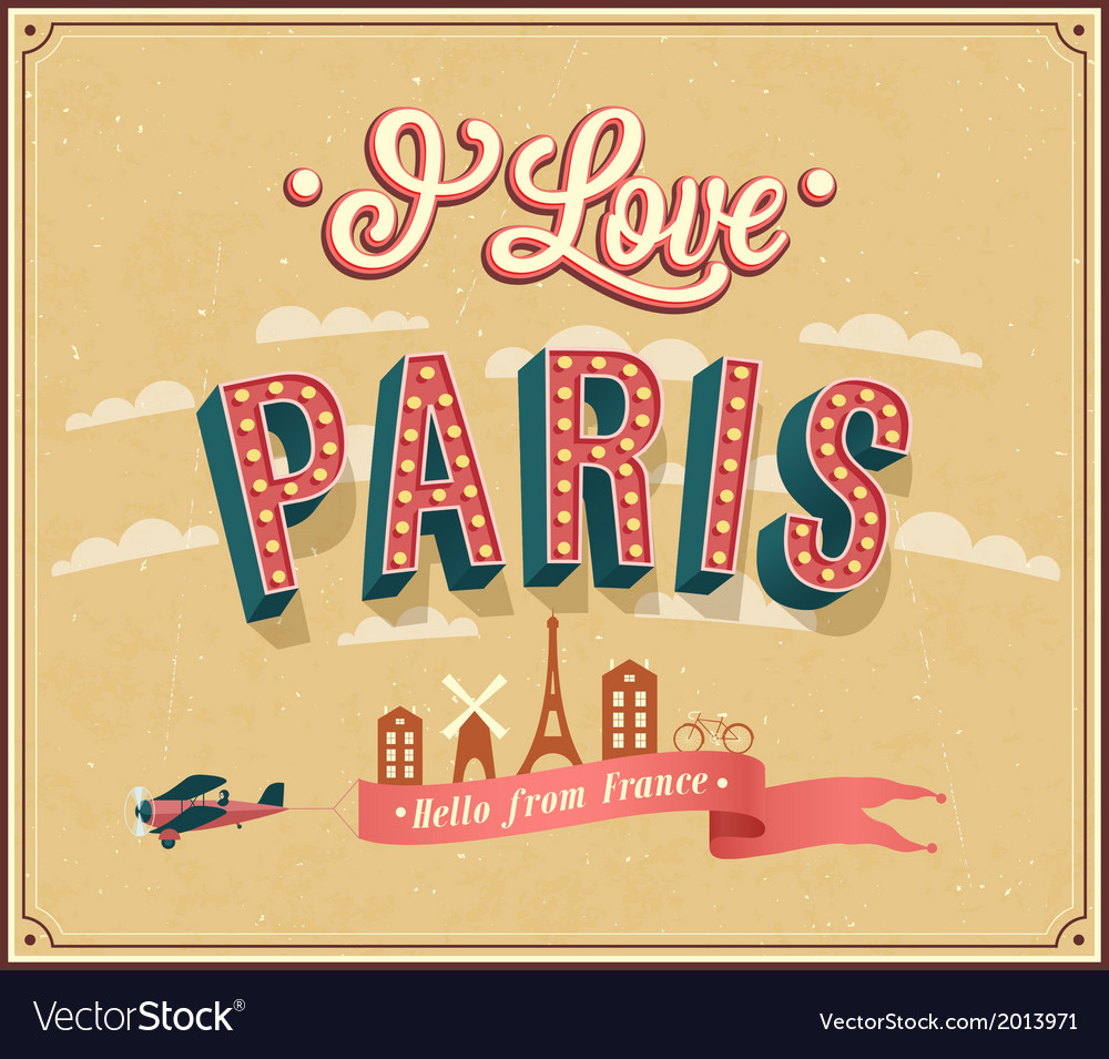 Vintage greeting card from paris - france vector   Price: 1 Credit (USD $1)