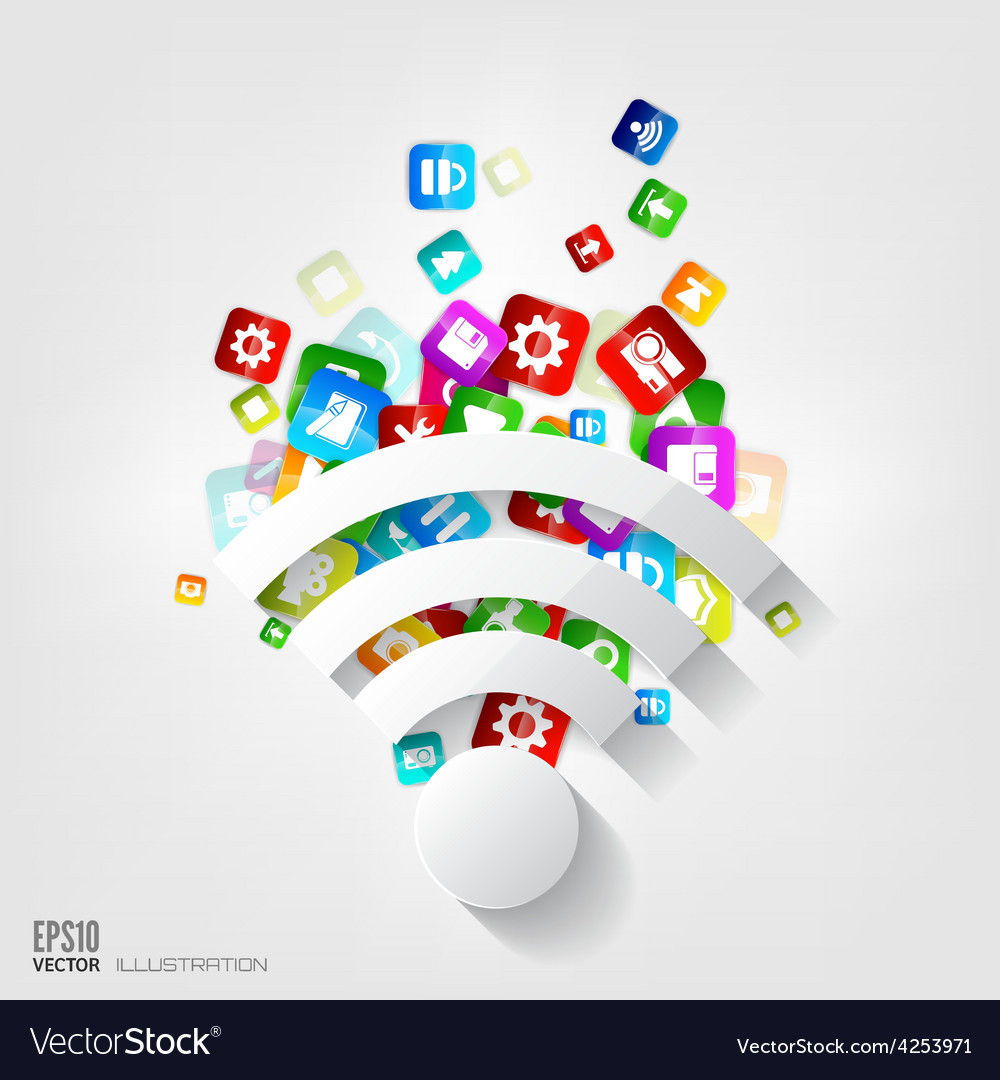 Wi-fi icon application buttonsocial mediacloud vector | Price: 3 Credit (USD $3)