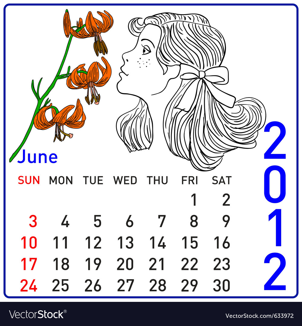 2012 year calendar in june vector | Price: 1 Credit (USD $1)
