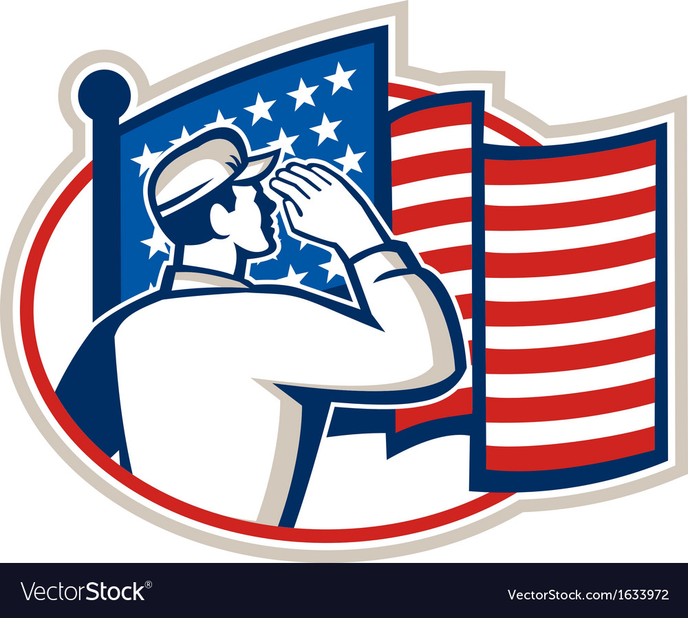 American soldier salute flag retro vector | Price: 1 Credit (USD $1)