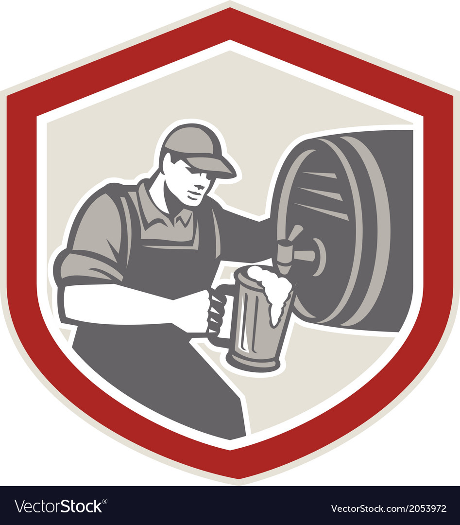 Barman pouring beer ale barrel retro vector | Price: 1 Credit (USD $1)