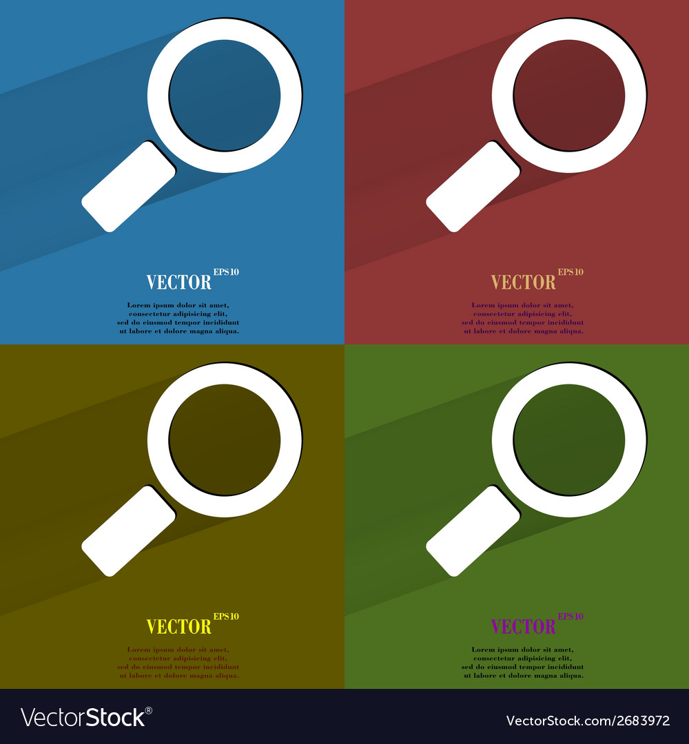 Color set search magnifier flat modern web button vector | Price: 1 Credit (USD $1)