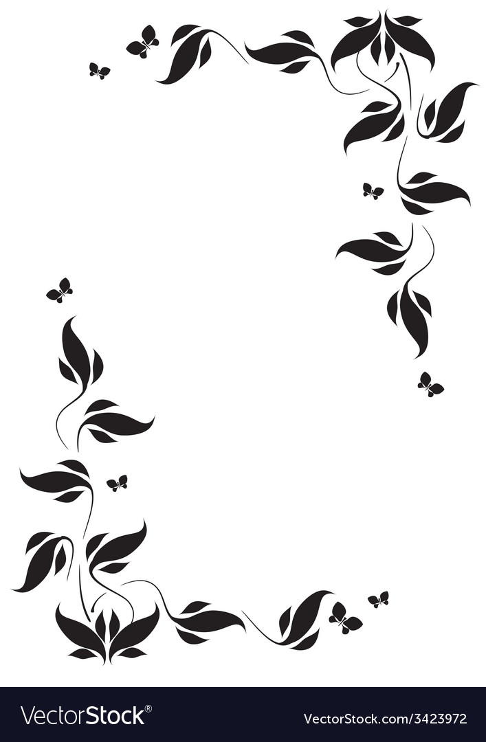 Corner vignette butterflies and leaves vector | Price: 1 Credit (USD $1)