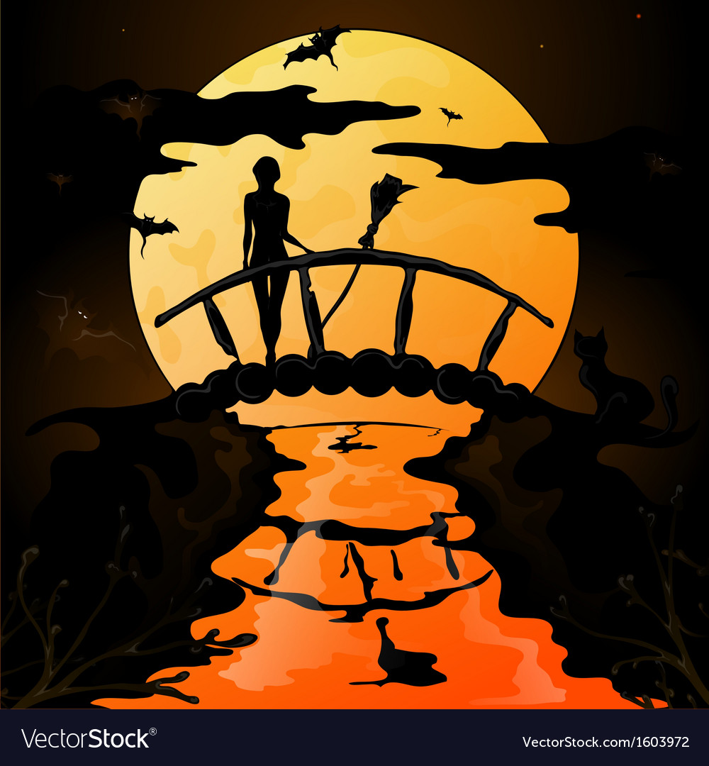 Halloween silhouette of a young witch flying on a vector | Price: 1 Credit (USD $1)