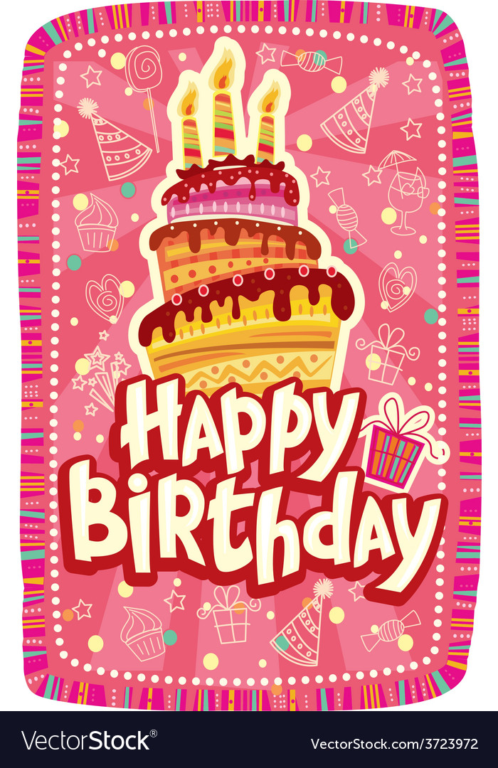 Happy birthday card with birthday cake vector | Price: 1 Credit (USD $1)