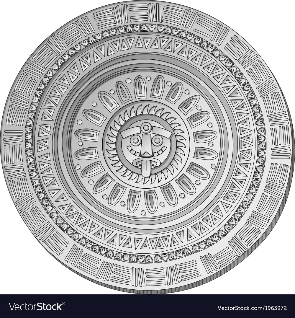 Mayan sun stone symbol vector | Price: 1 Credit (USD $1)