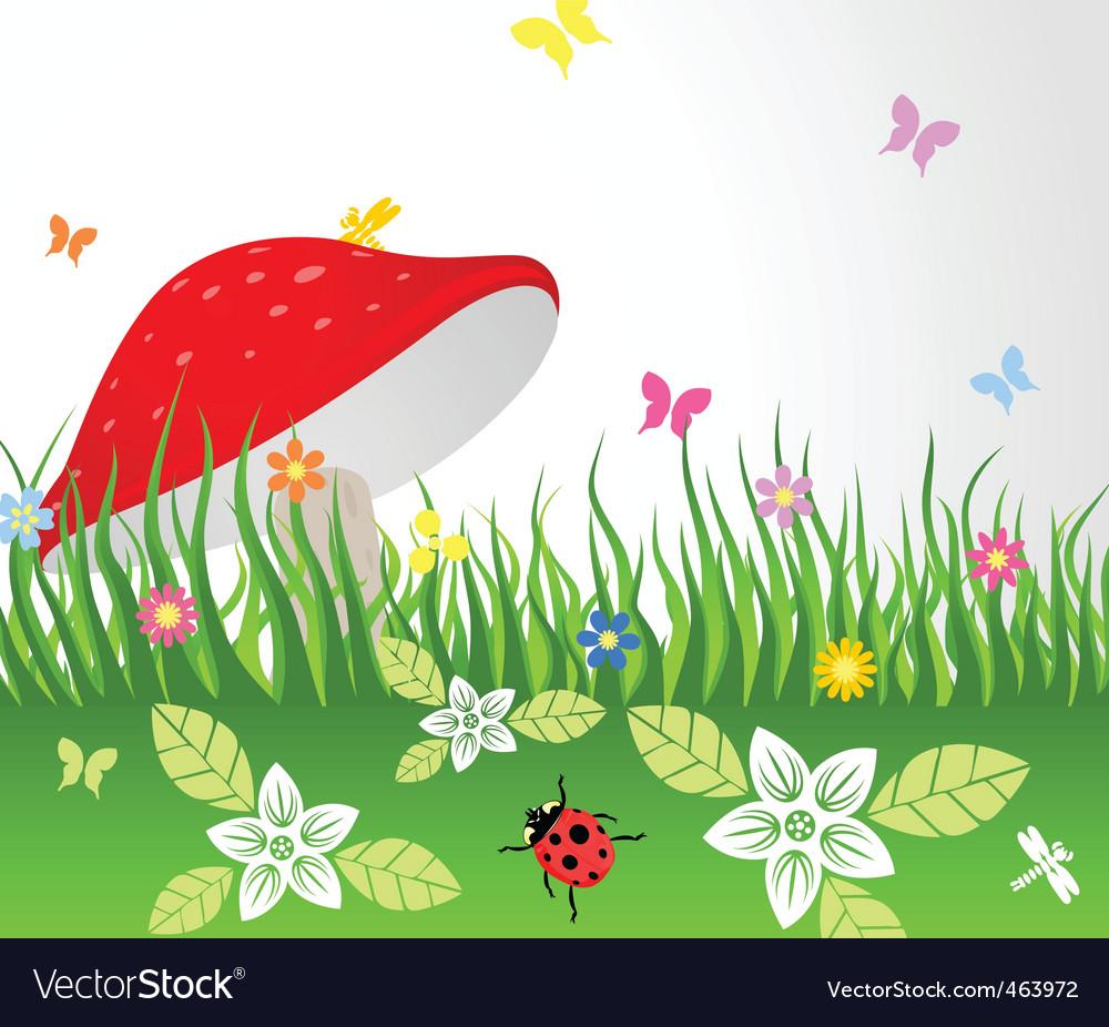 Mushroom on glade vector | Price: 1 Credit (USD $1)