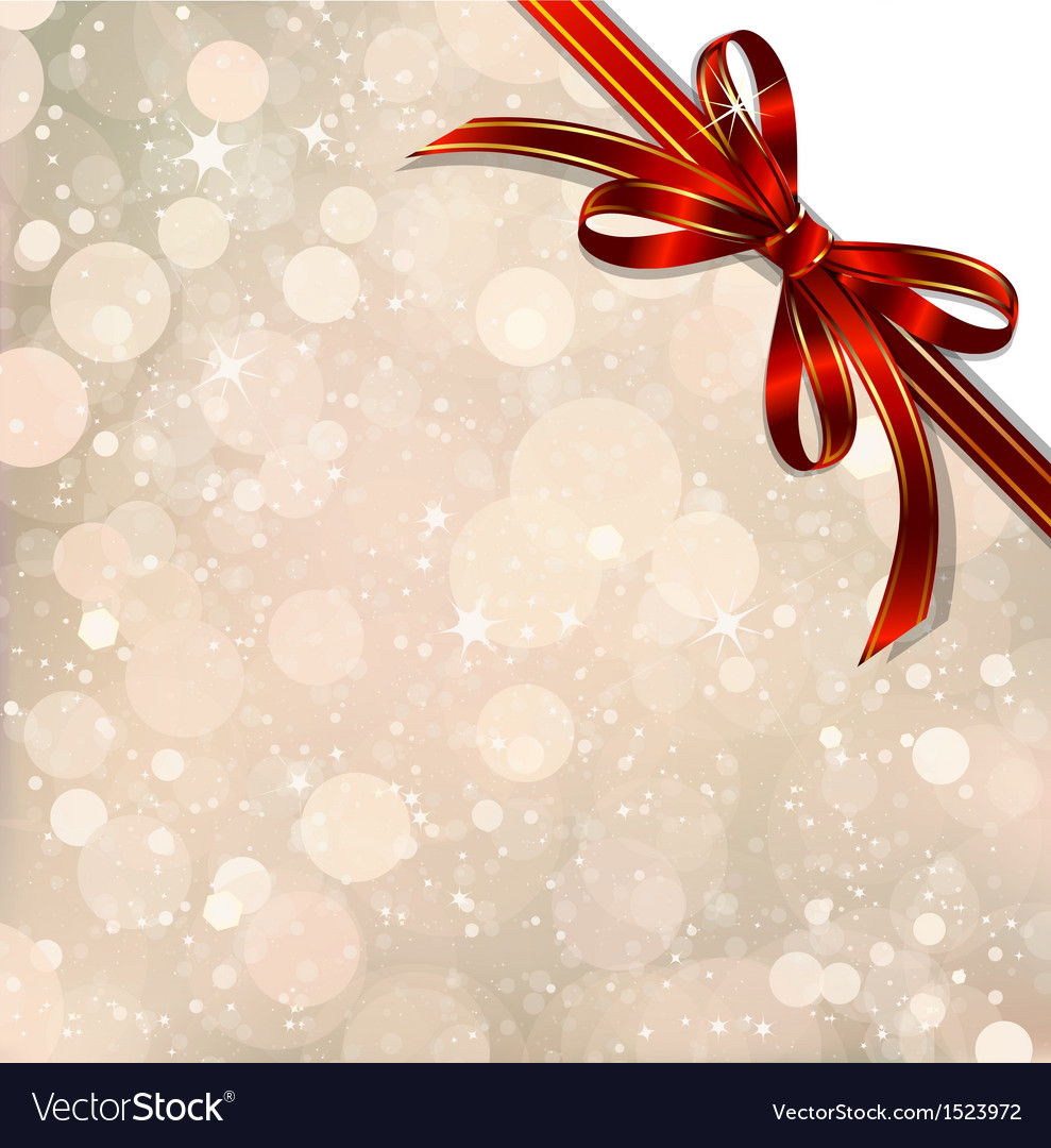 Red bow on a magical christmas over vector | Price: 1 Credit (USD $1)