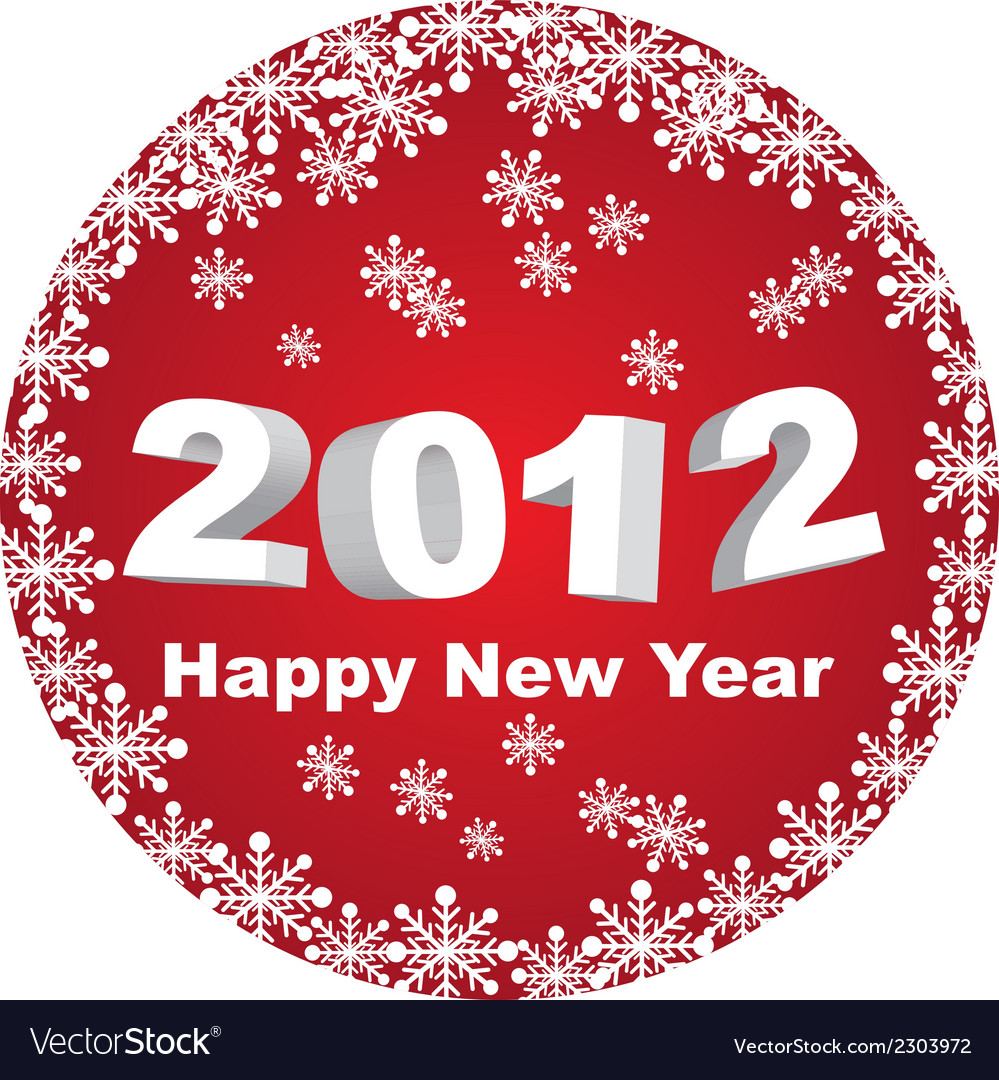 Red circle happy new year 2012 isolated over white vector | Price: 1 Credit (USD $1)
