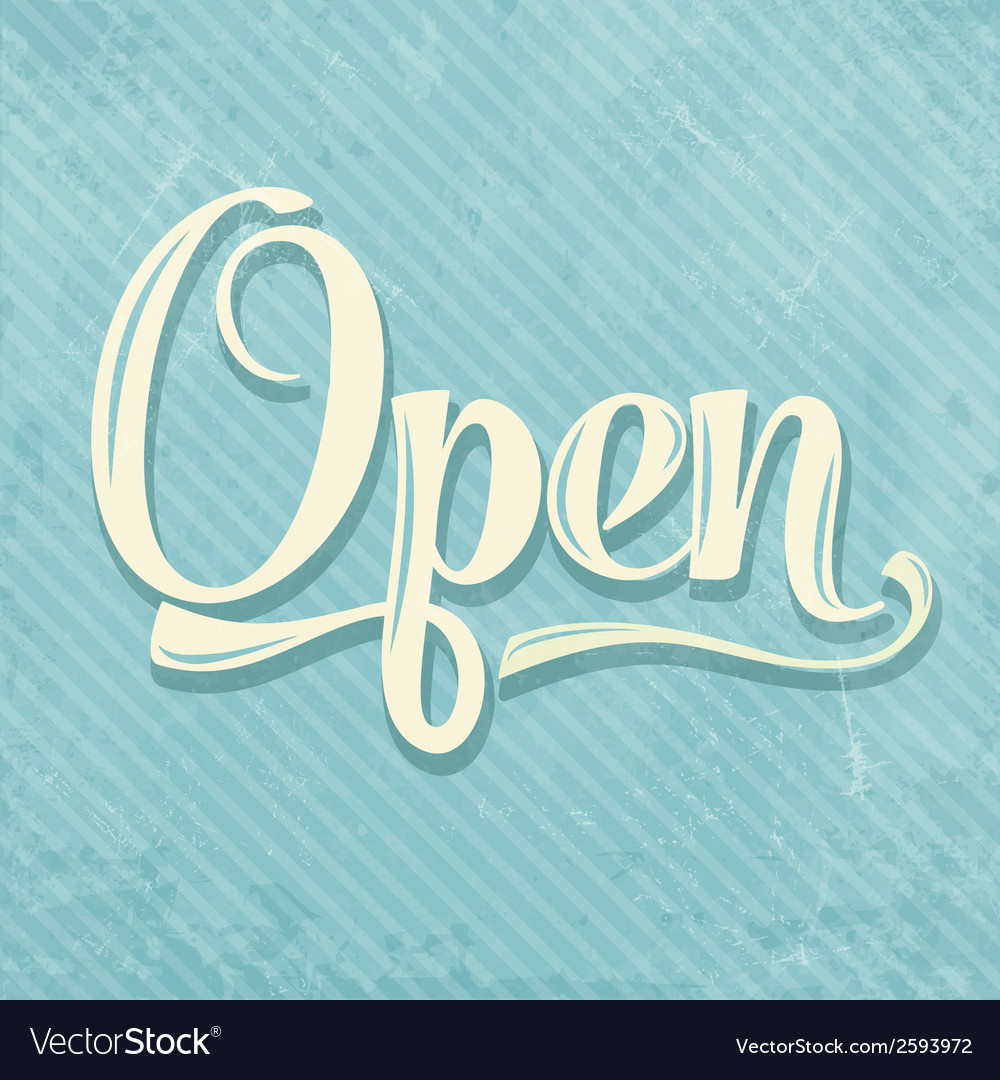 Retro open sign vector | Price: 1 Credit (USD $1)