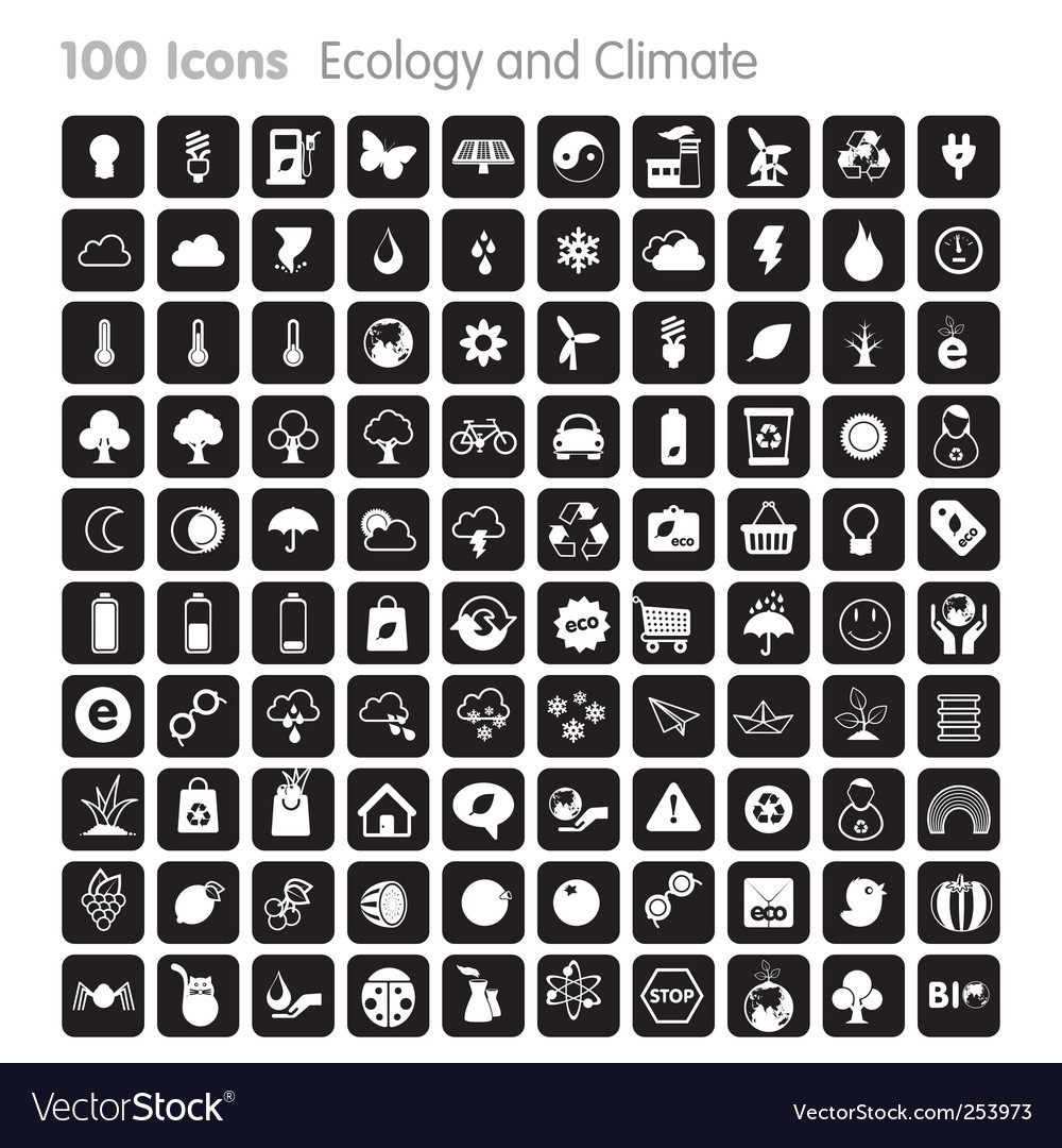 100 icons ecology and climate vector | Price: 1 Credit (USD $1)