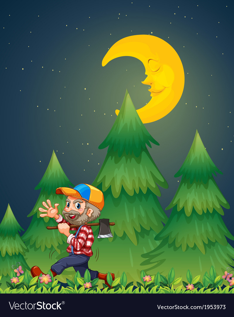A lumberjack walking happily while carrying an axe vector | Price: 1 Credit (USD $1)